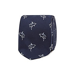 Red Herring - Navy shark embroidered tie