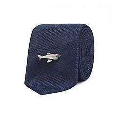 Red Herring - Navy textured shark pin slim tie