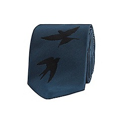 Red Herring - Dark turquoise swallow stitched tie