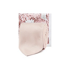 Black Tie - Pale pink tie and floral print pocket square set