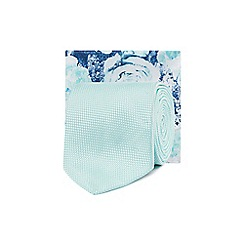 Black Tie - Pale green tie and floral print pocket square set