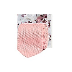 Black Tie - Pink tie and floral print pocket square set