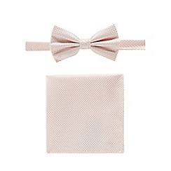 Black Tie - Pale pink textured bow tie, pocket square and pin set