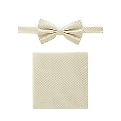 Black Tie - Pale yellow textured bow tie, pocket square and pin set