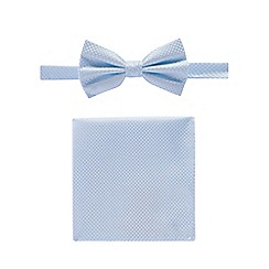 Black Tie - Pale blue textured bow tie pocket square and pin set