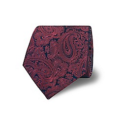 TM Lewin - Dark red paisley textured silk tie