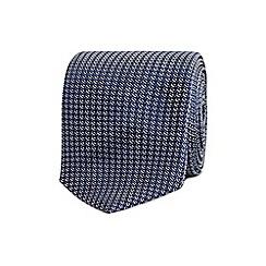 T.M.Lewin - Navy textured weave silk skinny tie