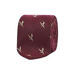 Hammond & Co. by Patrick Grant - Dark red embroidered bird tie