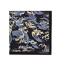 Hammond & Co. by Patrick Grant - Navy ocean wave print pocket square