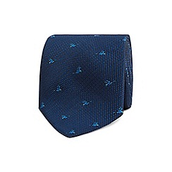 The Collection - Navy bird embroidered tie