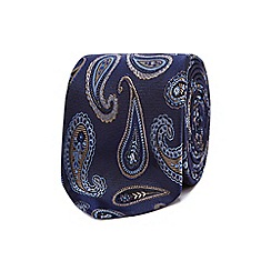 The Collection - Navy paisley embroidered silk tie