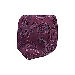 The Collection - Purple paisley embroidered silk tie