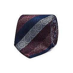 The Collection - Purple geometric floral stripe silk tie