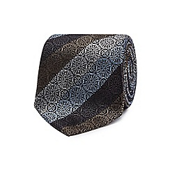 The Collection - Grey geometric floral stripe silk tie