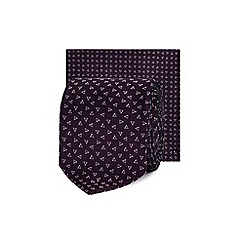 Red Herring - Purple triangle print skinny tie and pocket square set