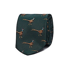 Hammond & Co. by Patrick Grant - Green silk pheasant print tie
