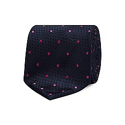 The Collection - Bright pink geometric dot silk tie