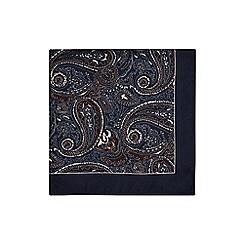 Hammond & Co. by Patrick Grant - Blue paisley print silk pocket square