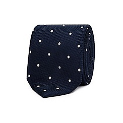 The Collection - Navy silk polka dot tie
