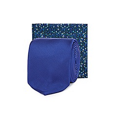 Red Herring - Blue tie and floral print pocket square set
