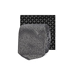 Red Herring - Silver zig zag textured skinny tie and pocket square set