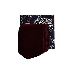 Red Herring - Wine red velvet tie and floral pocket square