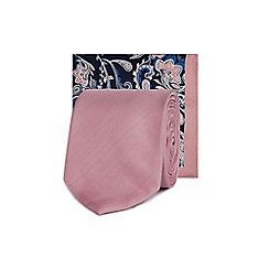 Red Herring - Pink tie and floral print pocket square set