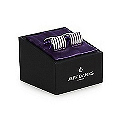 Jeff Banks - Silver striped cufflinks in a gift box