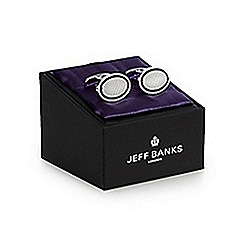 Jeff Banks - Silver textured oval cufflinks in a gift box