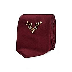 Red Herring - Wine red slim tie and stag tie pin
