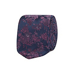 Red Herring - Purple floral embroidered tie