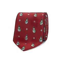 Debenhams - Red embroidered snowman tie