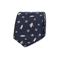 Debenhams - Navy embroidered penguin tie