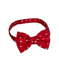Debenhams - Red embroidered snowflake bow tie
