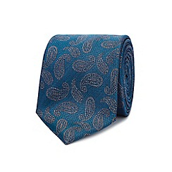 Hammond & Co. by Patrick Grant - Turquoise textured paisley silk tie