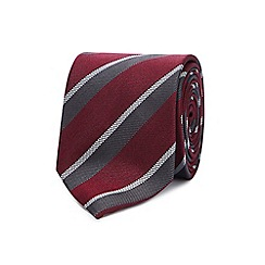 Hammond & Co. by Patrick Grant - Wine red college stripe silk tie