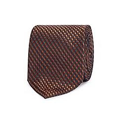 The Collection - Bronze geometric diamond silk tie