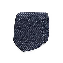 The Collection - Navy geometric diamond silk tie