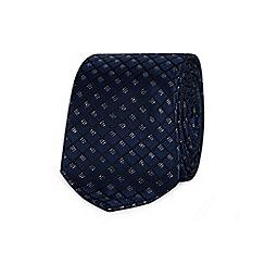 Black Tie - Navy diamond embroidered tie