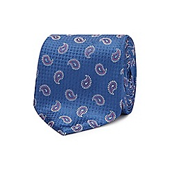 The Collection - Blue embroidered paisley silk tie