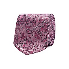 The Collection - Pink embroidered floral silk tie