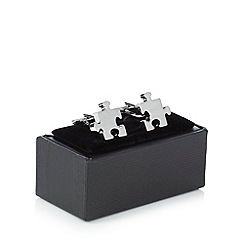 The Collection - Silver jigsaw cufflinks in a gift box