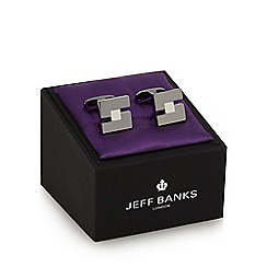 Jeff Banks - Silver plated square cut-out cufflinks