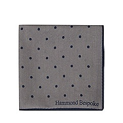 Hammond & Co. by Patrick Grant - Grey spotted print wool rich pocket square