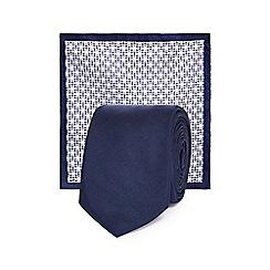Red Herring - Navy plain slim tie and pocket square