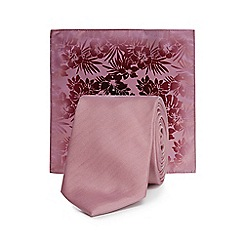 Red Herring - Pink skinny tie with a pocket square