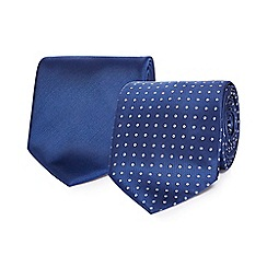 The Collection - Pack of two navy plain and patterned ties