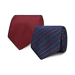 The Collection - Pack of two navy and red printed ties