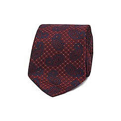 The Collection - Dark red textured dot paisley tie