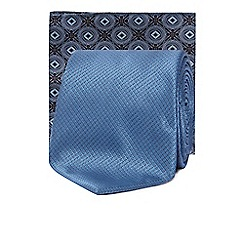 The Collection - Blue plain slim tie and pocket square